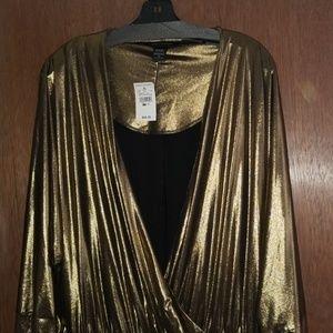 Ashley Stewart Gold Metallic Jumper